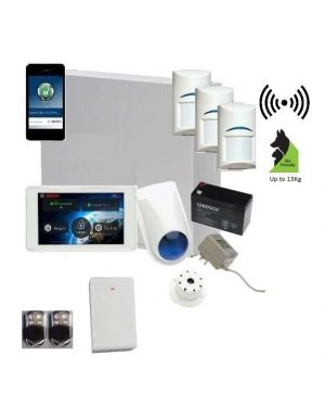 "Bosch Solution 3000 Alarm System with 3 x Wireless Detectors + 5"" Touch Screen Code pad+Premium Remote Kit +IP Module"