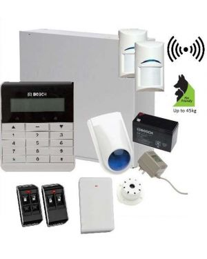 Bosch Solution 3000 Alarm System with 2 x Wireless Tritech detectors +Text Code pad, Plastic remotes