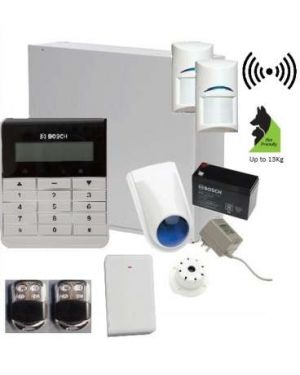 Bosch Solution 3000 Alarm System with 2 x Wireless detectors +Text Code pad, Stainless Steel remotes