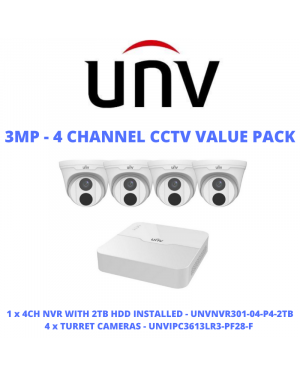 Uniview CCTV IP Kit, 4 Channel with Turret Eyeball, 2 TB Hard drive