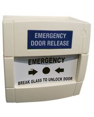 Kac Emergency Break Glass Door Release, Single Pole, white, MCP, SU0616