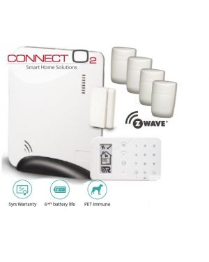 Connect O2 Wireless Alarm System GSM Connectivity, 4 Detectors