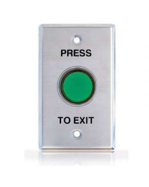 Press to Exit Button, Shrouded Green, Illum Std Plate