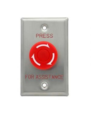 Press for Assistance Button, Big Mushroom, Red, Twist to Reset Stainless Steel