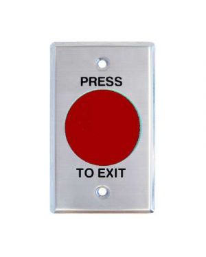 Smart Press to Exit Momentary Mushroom Red Button Flat S/S Plate, WEL2220R