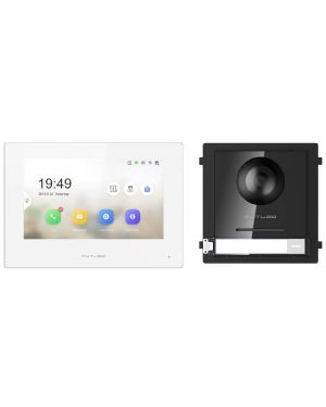 """Futuro IP Intercom KIT 7"""" Monitor and Surface Mount Door Station with POE Switch - Black"""