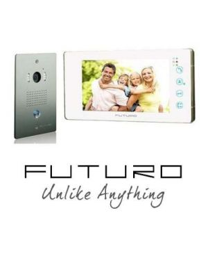 Futuro Video Intercom, White Monitor Flush Mounted Door Station, No Memory, FUTURO-101-KITW