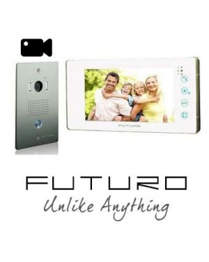 Futuro Video Intercom, White Monitor Flush Mount Door Station, Pic Memory, FUTURO-111-KITW