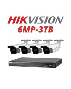 Hikvision CCTV IP Kit, 4 Channel with 6MP Bullet, 4 Cameras, 3 TB Hard Drive