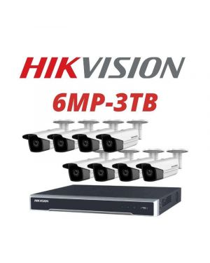 Hikvision CCTV IP Kit, 8 Channel with 6MP Bullet, 8 Cameras, 3 TB Hard Drive