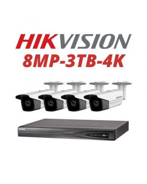 Hikvision CCTV IP Kit, 4 Channel with 8MP Bullet, 4 Cameras, 3 TB Hard Drive