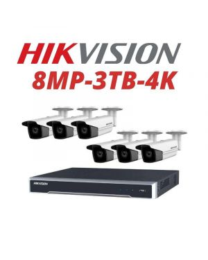 Hikvision CCTV IP Kit, 8 Channel with 8MP Bullet, 4 Cameras, 3 TB Hard Drive