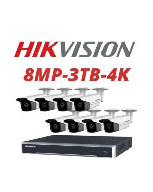 Hikvision CCTV IP Kit, 8 Channel with 8MP Bullet, 8 Cameras, 3 TB Hard Drive