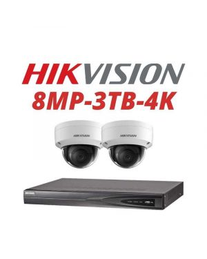 Hikvision CCTV IP Kit, 4 Channel with 8MP Turret, 2 Cameras, 3 TB Hard Drive