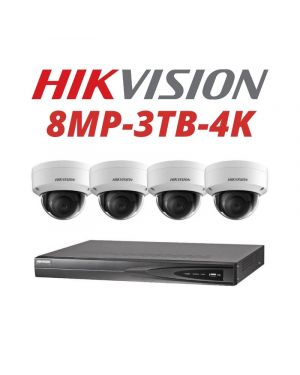 Hikvision CCTV IP Kit, 4 Channel with 8MP Dome, 2 Cameras, 3 TB Hard Drive