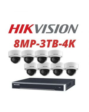 Hikvision CCTV IP Kit, 8 Channel with 8MP Dome, 8 Cameras, 3 TB Hard Drive