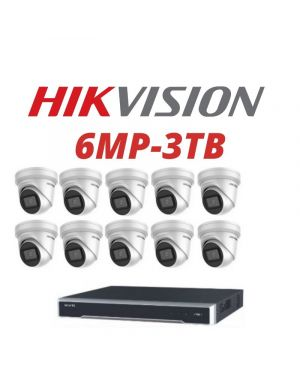 Hikvision CCTV IP Kit, 16 Channel with 6MP Flat Eye, 8 Cameras, 3 TB Hard Drive