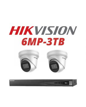 Hikvision CCTV IP Kit, 4 Channel with 6MP Bullet, 2 Cameras, 3 TB Hard Drive