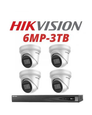 Hikvision CCTV IP Kit, 4 Channel with 6MP Flat Eye, 2 Cameras, 3 TB Hard Drive