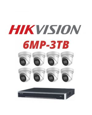 Hikvision CCTV IP Kit, 8 Channel with 6MP Flat Eye, 6 Cameras, 3 TB Hard Drive