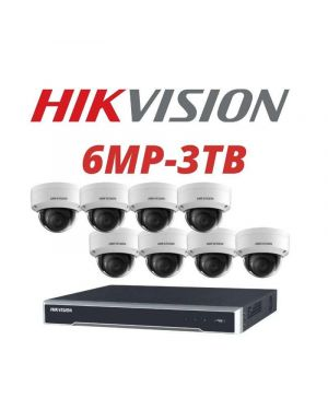 Hikvision CCTV IP Kit, 8 Channel with 6MP Dome, 6 Cameras, 3 TB Hard Drive