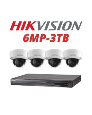 Hikvision CCTV IP Kit, 4 Channel with 6MP Dome, 2 Cameras, 3 TB Hard Drive