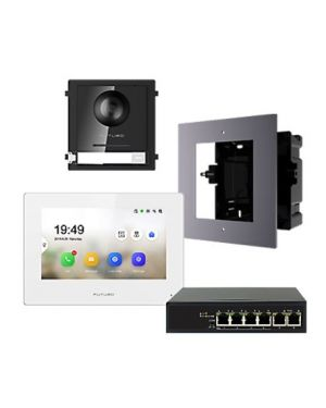"Futuro IP Intercom KIT 7"" Monitor and Flush Mount Door Station with POE Switch - White, FIP-KIT-FMW"