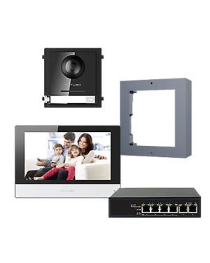 "Futuro IP Intercom KIT 7"" Monitor and Flush Mount Door Station with POE Switch - Black"
