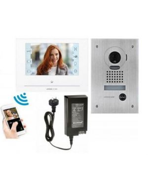 "Aiphone Intercom Kit Smartphone Connection 7"" Monitor Flush Mounted Door Station, JOS-1FW"