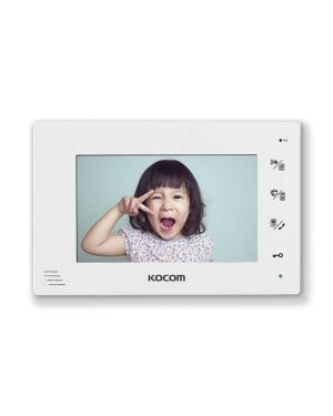 "Kocom 7"" Handsfree additional monitor for KCV-D372, 2 wire system White Frame"