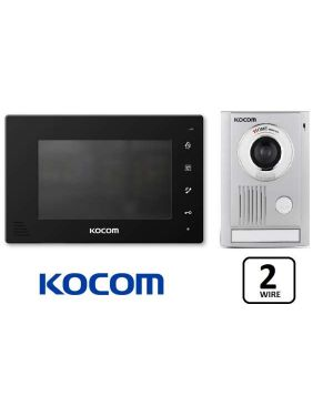 "Kocom  Colour Hands Free Video 7"" Wide Screen + Large door station, KCV-D372, 2 WIRE, Black Frame"