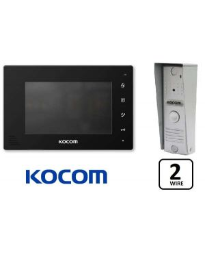 "Kocom  Colour Hands Free Video 7"" Wide Screen + Slimline door station, KCV-D372, 2 WIRE Black Frame"