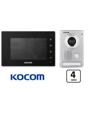 "Kocom Intercom Kit 7"" Wide Screen KCV-D374 With Large Door Station, 4 Wire, Black"