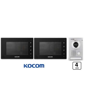 "Kocom  Colour hands Free Video 7"" Wide Screen KCV-D374, two screens with Large door station ,4 Wire. Black"