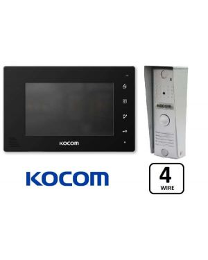 "Kocom Colour Hands Free Video 7"" Wide Screen KCV-D374 With Slimline Door Station, 4 Wire, Black"