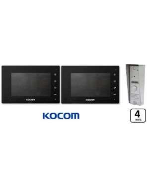 """Kocom  Colour hands Free Video 7"""" Wide Screen KCV-D374, two screens with Slimline door station ,4 Wire. Black"""