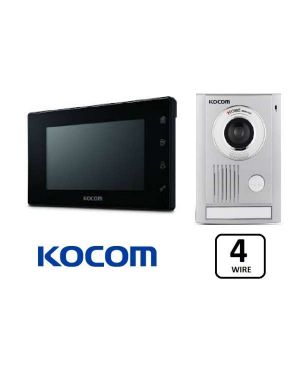 "Kocom Colour hands Free Video 7"" Wide Screen KCV-504 with Large Door Station, Slimline Design Black"