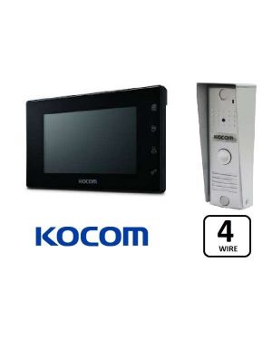 "Kocom Colour Hands Free Video 7"" Wide Screen KCV-504 With Slimline Door Station, Slimline Design, Black"
