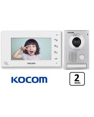 "Kocom  Colour Hands Free Video 7"" Wide Screen + Large door station, KCV-D372, 2 WIRE, White Frame"