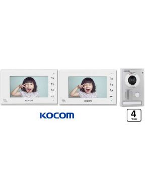 "Kocom Colour hands Free Video 7"" Wide Screen KCV-D374, two screens with Large door station ,4 Wire. White"