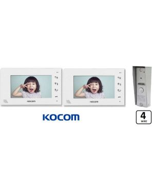 """Kocom  Colour hands Free Video 7"""" Wide Screen KCV-D374, two screens with Slimline door station. 4 Wire"""