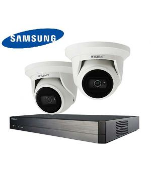Samsung CCTV IP Kit, 4 Channel with Turret Flat Eye, 2 Cameras