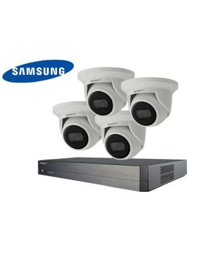 Samsung CCTV IP Kit, 8 Channel with Turret Flat Eye, 4 Cameras