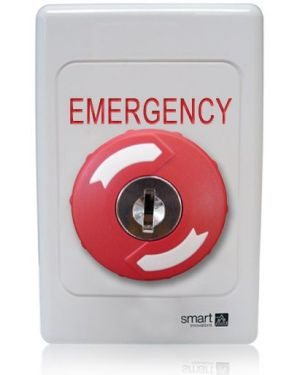 Smart Red Key-to-Release Button on Engraved Plastic Plate, SMART4375