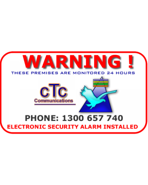 Warning Alarm sticker CTC Communications