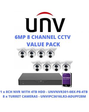 Uniview CCTV IP Kit, 4 Channel NVR with  6MP Turret Eyeball, 2 TB Hard drive