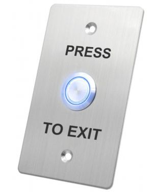 X2 Illuminated Exit Button, Blue, Stainless Steel - Large, 1NO + 1NC, IP65, 12VDC, X2-EXIT-027