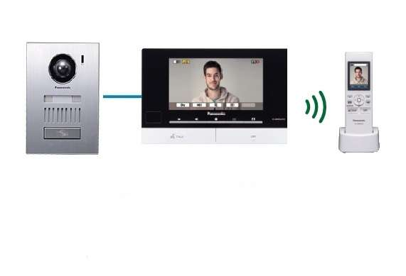 "Panasonic 7"" Colour Video Intercom With Stainless Steel Door Station+ Wireless Handset"